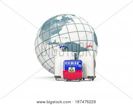 Luggage With Flag Of Haiti. Three Bags In Front Of Globe