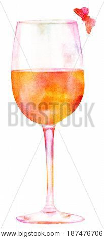 A glass of wine with a little butterfly, hand painted in watercolor on white background, golden toned, a decoration for a restaurant wine list, or a design element for a party invitation