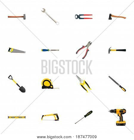 Realistic Spade, Carpenter, Sharpener And Other Vector Elements. Set Of Tools Realistic Symbols Also Includes Pliers, Emery, Wrench Objects.