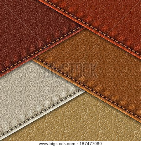 Set of realistic leather textures with stitches. Leather backgrounds of different brown shades. Vector illustration