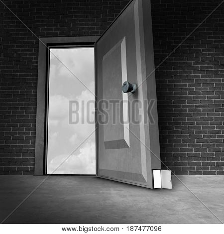 Small business opportunities as a giant open door with a tiny hidden entrance as an obscure or secret optional career or financial opening opportunity or secret society private membership as a 3D illustration.