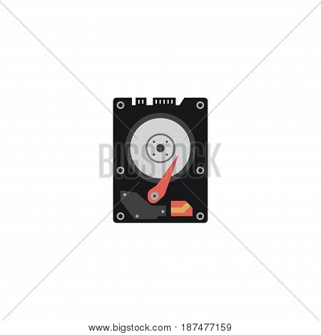Flat Hdd Element. Vector Illustration Of Flat Hard Disk Isolated On Clean Background. Can Be Used As Hdd, Hard And Disk Symbols.