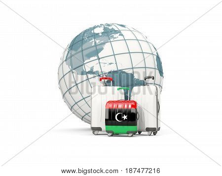 Luggage With Flag Of Libya. Three Bags In Front Of Globe