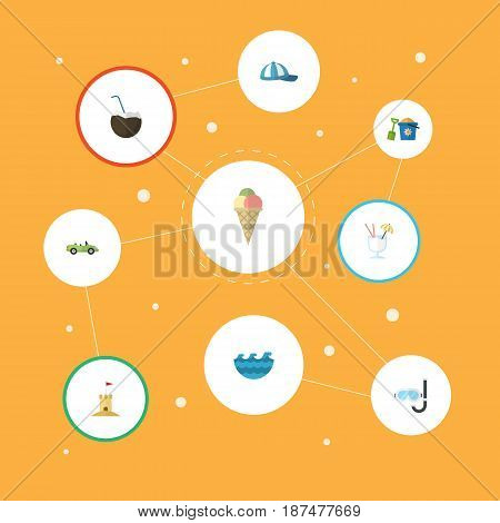 Flat Shovel, Sorbet, Car And Other Vector Elements. Set Of Beach Flat Symbols Also Includes Aqualung, Water, Coconut Objects.