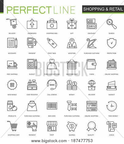 Shopping and retail thin line web icons set. Online shopping Outline stroke icon design