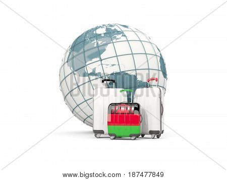 Luggage With Flag Of Malawi. Three Bags In Front Of Globe
