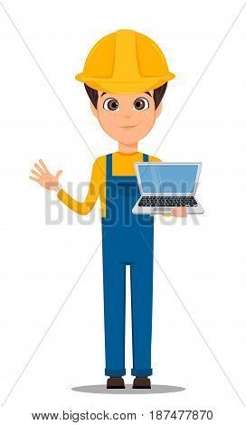 Constructor worker. Handsome builder holding laptop and showing hello gesture. Cute cartoon character. Vector illustration.