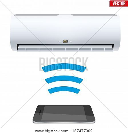 Illustration of Wireless Controlling air conditioner with smartphone. IOT Concept and remote home appliance. Editable Vector illustration Isolated on white background.