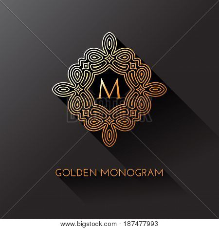 Golden elegant monogram with letter M. Template design for monogram label logo emblem. Vector illustration.