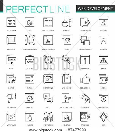 Web development thin line web icons set. SEO Online shopping Outline stroke icon design