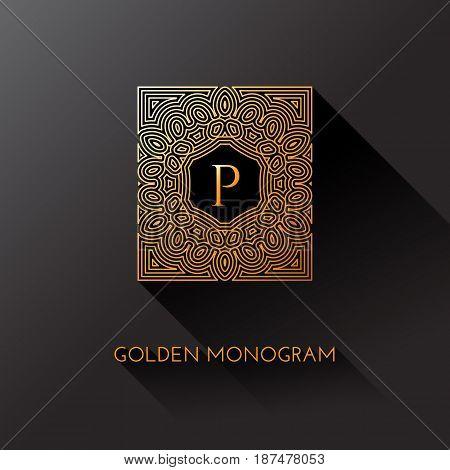 Golden elegant monogram with letter P. Template design for monogram label logo emblem. Vector illustration.