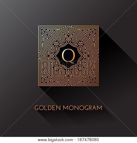 Golden elegant monogram with letter Q. Template design for monogram label logo emblem. Vector illustration.