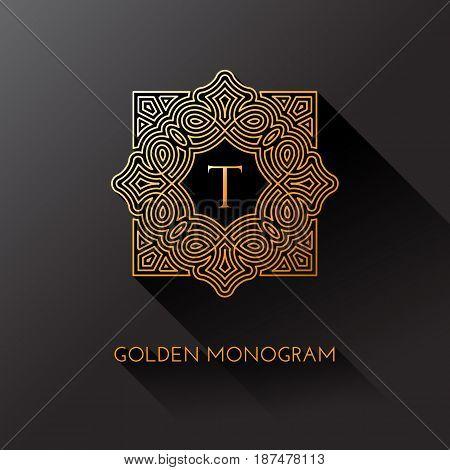 Golden elegant monogram with letter T. Template design for monogram label logo emblem. Vector illustration.
