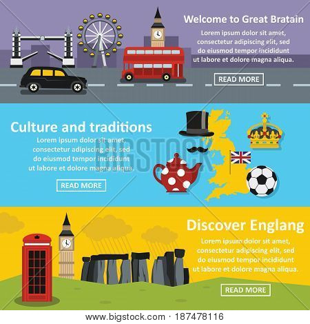 England travel banner horizontal concept set. Flat illustration of 3 England travel vector banner horizontal concepts for web