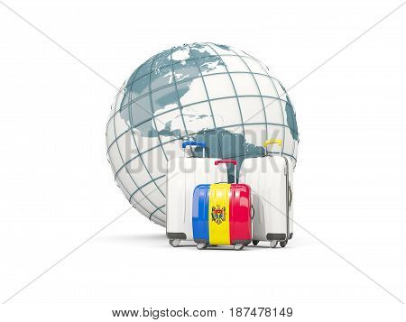 Luggage With Flag Of Moldova. Three Bags In Front Of Globe