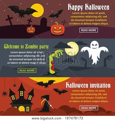 Happy Halloween banner horizontal concept set. Flat illustration of 3 happy halloween vector banner horizontal concepts for web
