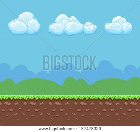 Pixel 8bit game vector background with ground and cloudy sky panorama. Nature landscape pixel background, illustration game interface pixel art