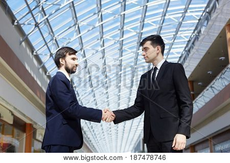 Two business partners handshaking after making deal