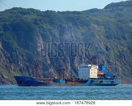 Petropavlovsk-Kamchatsky, Russia - August 15, 2016: Cargo tanker Ust-Karsk near the coast of Kamchatka.