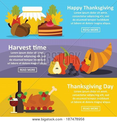 Happy Thanksgiving banner horizontal concept set. Flat illustration of 3 Happy Thanksgiving vector banner horizontal concepts for web