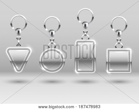 Silver keychains in different shapes for house door vector templates. Metal keychain or trinket, illustration of realistic keyring template