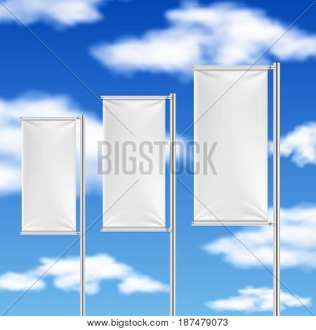White flags and blue sky. Beach event advertising vector template. Empty flag for promotion, promo frame white flag illustration