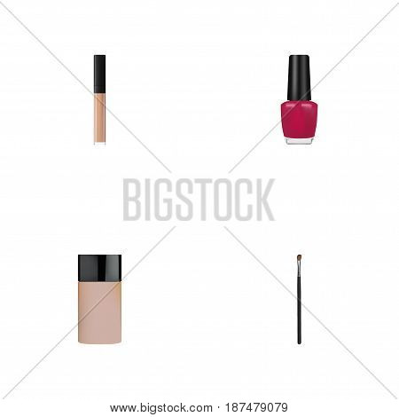 Realistic Eye Paintbrush, Cover, Concealer And Other Vector Elements. Set Of Greasepaint Realistic Symbols Also Includes Lipstick, Nail, Brush Objects.