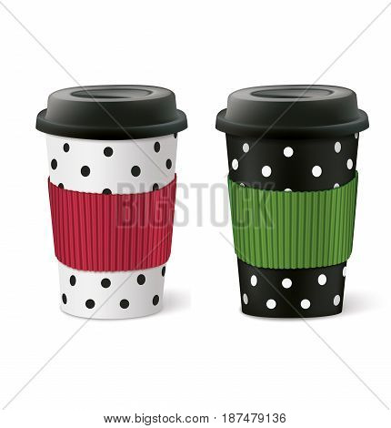 White and black paper cups. Vector illustration