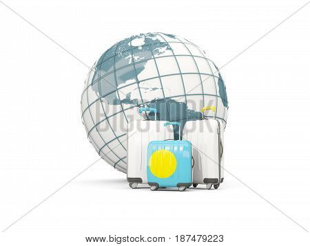 Luggage With Flag Of Palau. Three Bags In Front Of Globe