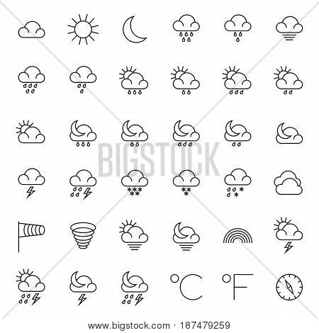 Meteorology symbols and weather vector thin line icons set. Weather icons set, illustration of snowflake and rain weather