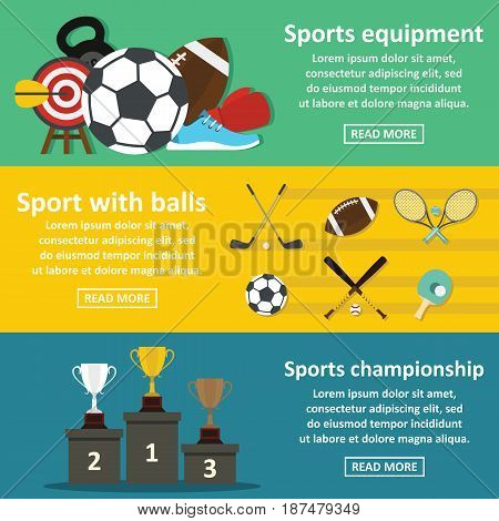 Sport equipment banner horizontal concept set. Flat illustration of 3 sport equipment vector banner horizontal concepts for web