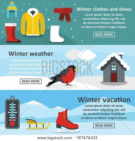 Winter vacation banner horizontal concept set. Flat illustration of 3 winter vacation vector banner horizontal concepts for web