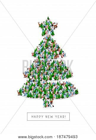 Group of Santa Clauses, snowmen, deer, trees and Snow Maidens stand in the figure of the Christmas tree. Vector illustration on white background. Great holiday gift card for the new year