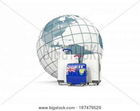 Luggage With Flag Of Saint Helena. Three Bags In Front Of Globe