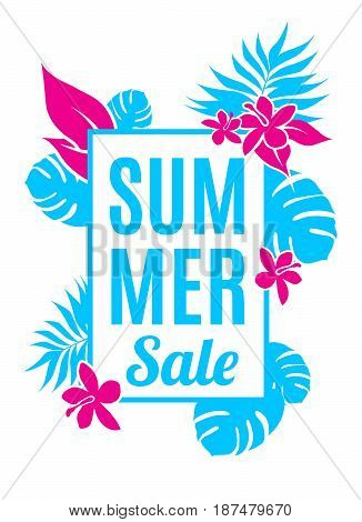 Summer sale background with leaves and flowers.