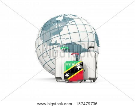 Luggage With Flag Of Saint Kitts And Nevis. Three Bags In Front Of Globe