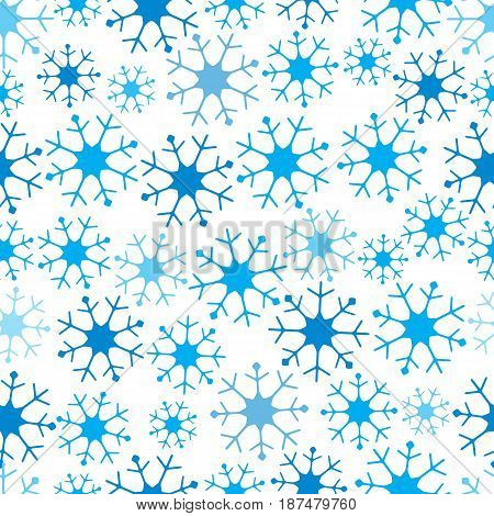 Winter Seamless Pattern With Variety Of Snowflakes.