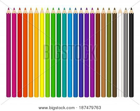 vector set of colored pencils on white background