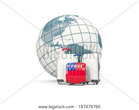 Luggage With Flag Of Samoa. Three Bags In Front Of Globe