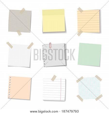 vector set of realistic paper memo sheets