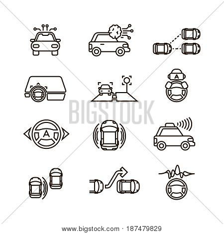 Smart car and hands free driving automatic system vector line icons. Automatic car system, illustration of smart automobile