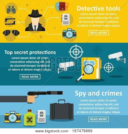 Detective tools banner horizontal concept set. Flat illustration of 3 detective tools vector banner horizontal concepts for web