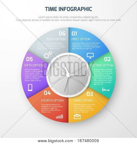 Time schedule vector infographic with clock and watch steps. Round infographic template, illustration of presentation time infographic