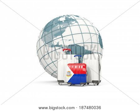 Luggage With Flag Of Sint Maarten. Three Bags In Front Of Globe