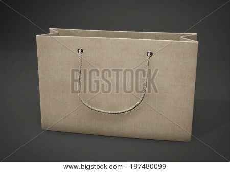 Cardboard Package For Purchases. Empty Paper Shopping. 3D Rendering.