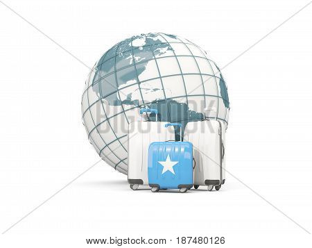 Luggage With Flag Of Somalia. Three Bags In Front Of Globe
