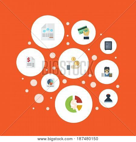 Flat Paper, Pie Bar, Card And Other Vector Elements. Set Of Accounting Flat Symbols Also Includes Net, Tax, Credit Objects.