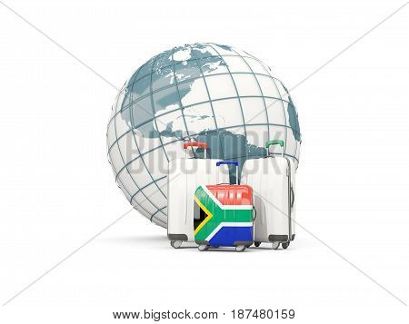 Luggage With Flag Of South Africa. Three Bags In Front Of Globe