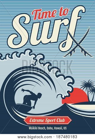 Surfing vector hawaii t-shirt vector vintage design. Typography surfing t-shirt, illustration of graphic surfer on wave ocean