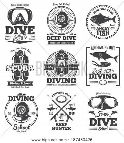 Underwater scuba diving club vector vintage emblems and labels. Sport freediving label, illustration of diving scuba club